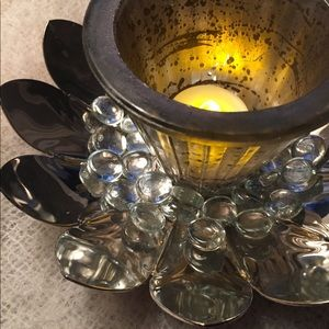Silver plate vintage lotus leaf votive candle set.